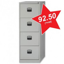 Trexus Filing Cabinet Steel Lockable 4 Drawer W470xD622xH1321mm Grey