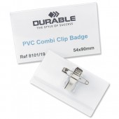 Durable CombiClip NameBadge 40x75mm Pk50