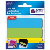 Avery Rem Lab Pad 1x3 1/2 Neon Ast 8311