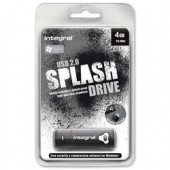Integral Splash Flash Drive Rubberised Casing USB 2.0 with Software 4GB Black