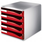 &Leitz Post Set 5Drawer A4 Red 5280-25