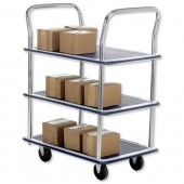 Trolley Steel Frame Non Marking Wheels Capacity 120kg 3 Shelf Chrome