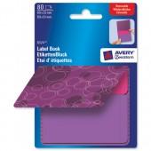 &Avery Remb Label Pad Bk Purple&Pnk 8324