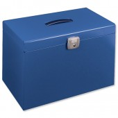 Blue metal foolscap file box 040122
