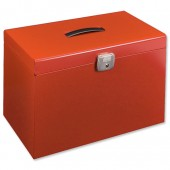 Red metal foolscap file box 040123