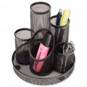Osco Mesh 5 Tube Pen Pot Black DT5B