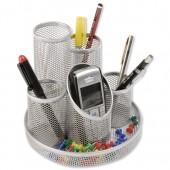 Osco Mesh 5 Tube Pen Pot Silver DT5S