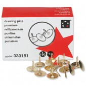 5 Star Brass Drawing Pins Box150