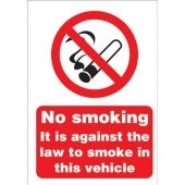 No Smoking Vehicle Sign A5 SAV SB014SAV
