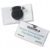 &Durable Convex NameBadge CombiClip Pk25