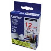 BrotherPtouch TZE8mtp12mm Red/Wht TZE232