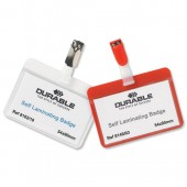 Durable Self-Laminat NameBadge Red Pk25