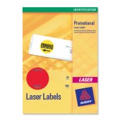 &Avery Neon Round Labels Red L7670R-25
