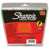 Sharpie Permanent Marker Fine Tip 1.0mm Line Assorted Ref S0811080 [Wallet 12]