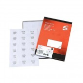 5 Star Addressing Labels Inkjet 18 per Sheet 63.5x46.6mm White [1800 Labels]