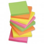 5 Star Re-Move Notes Repositionable Neon Pad of 100 Sheets 75x75mm Assorted [Pack 12]