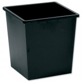 5 Star Square Metal Waste Bin 27L Black
