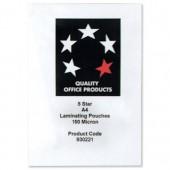 5 Star A4 Lamg Pouch 150Mic MATT Pk100
