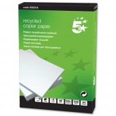 5 Star Copier Paper Recycled Ream-Wrapped 80gsm A4 White [1 Box of 5reams x 500 Sheets]
