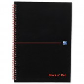 Black n Red Notebook Soft Cover Wirebound Perforated 90gsm Ruled 100pp A4 Ref 100080174 [Pack 10]